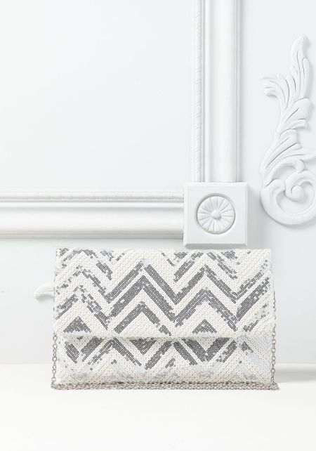 Silver Chevron Sequin Clutch