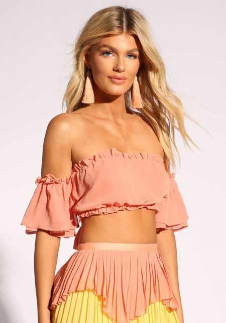 Peach Tie Back Bell Sleeve Crop Top