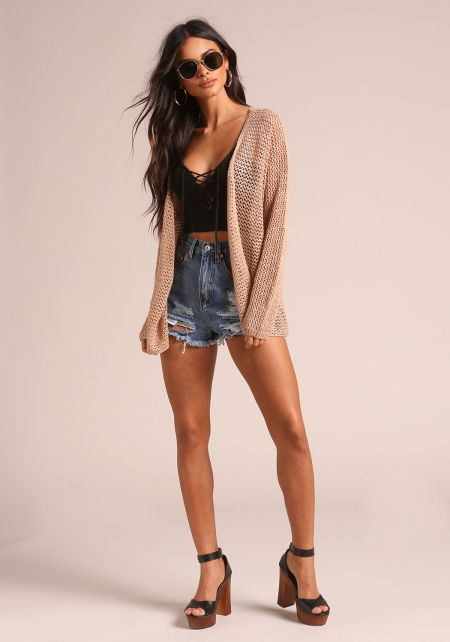 Taupe Crochet Knitted Cardigan