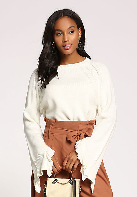 Ivory Ruffle Bell Sleeve Sweater Top