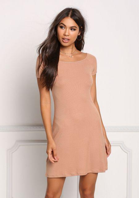 Apricot Ribbed Knit Shift Dress