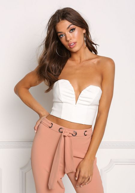 Ivory Plunge Sweetheart Crop Top