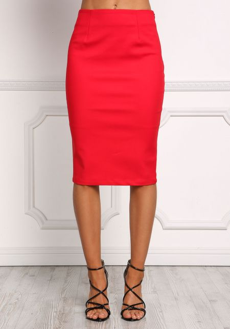 Red High Rise Minimalist Pencil Skirt