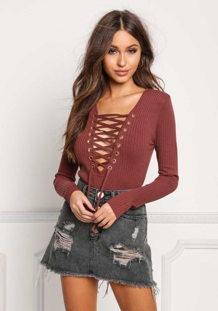 Mauve Plunge Lace Up Ribbed Knit Top