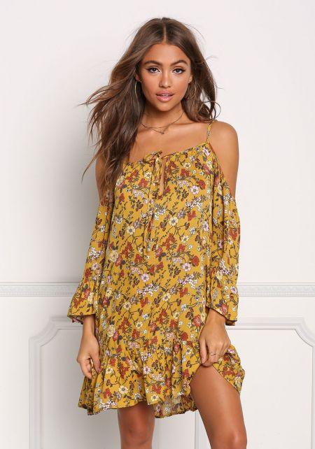 Mustard Floral Cold Shoulder Shift Dress