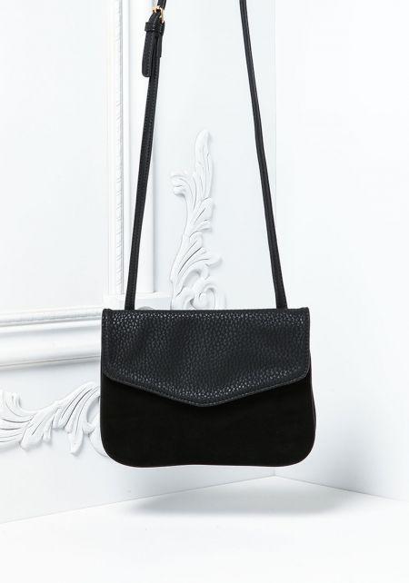 Black Leatherette & Suedette Multi Compartment Crossbody Bag