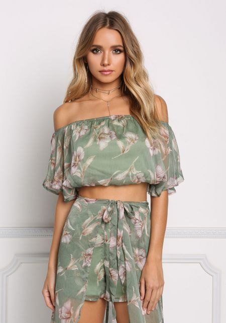 Green Floral Gauze Off Shoulder Crop Top