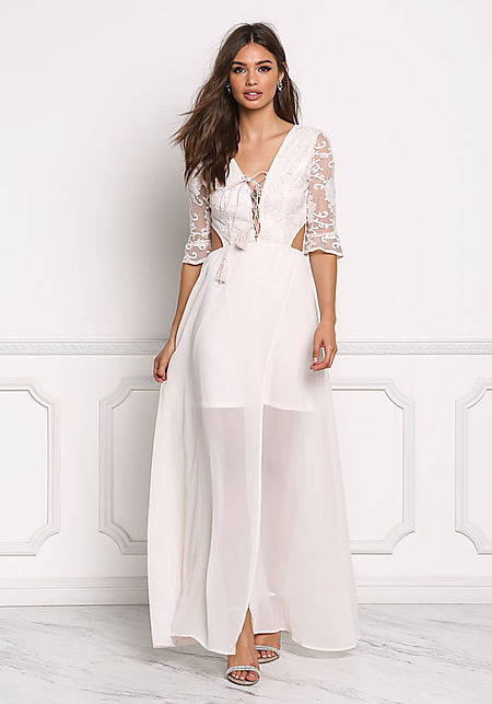 Cream Lace Trim Plunge Lace Up Maxi Gown