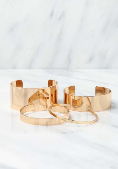 Gold Thick & Thin Cuff Bracelet Set