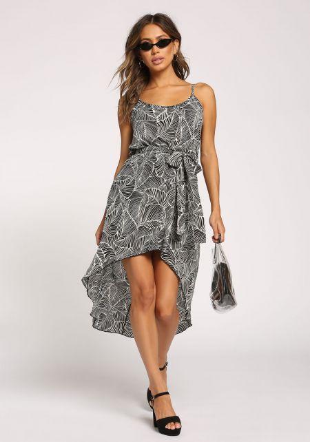 Black Palm Leaf Hi-Lo Waist Tie Dress