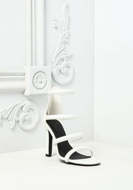White Leatherette Multi Strap Heels