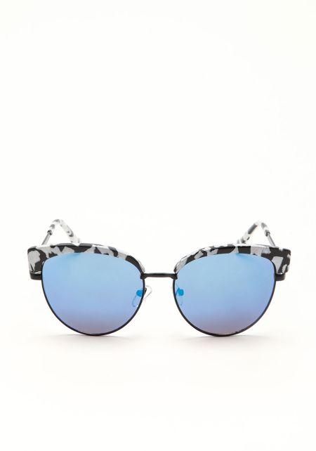 Blue Half Frame Mirrored Sunglasses
