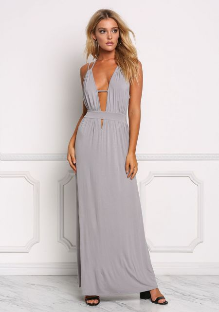 Grey Deep V Strappy Maxi Dress