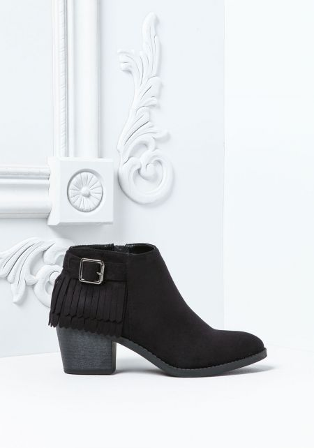 Black Suedette Fringe Buckle Booties