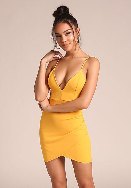 Yellow Low V Surplice Bodycon Dress