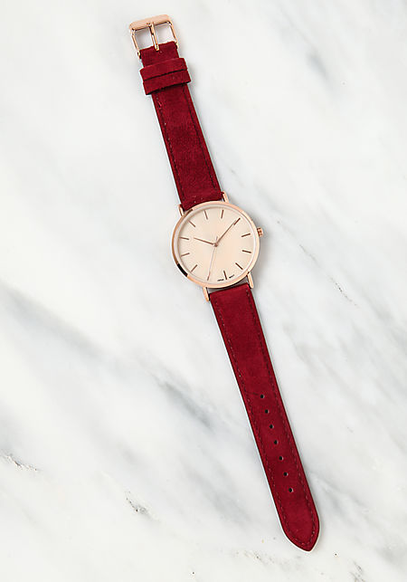 Burgundy Faux Suede Analog Watch
