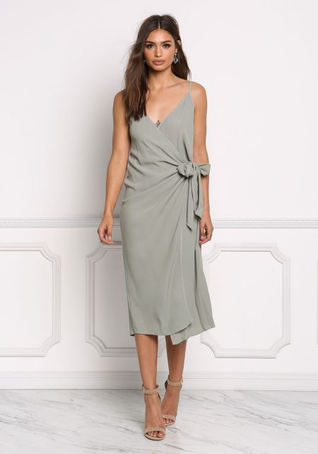 Sage Wrap Cami Dress