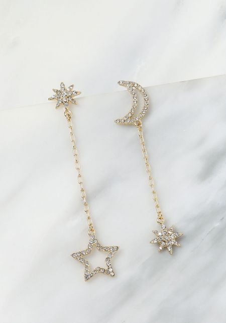 Gold Rhinestone Moon & Star Drop Earrings