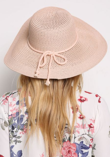Light Pink Woven Straw Hat