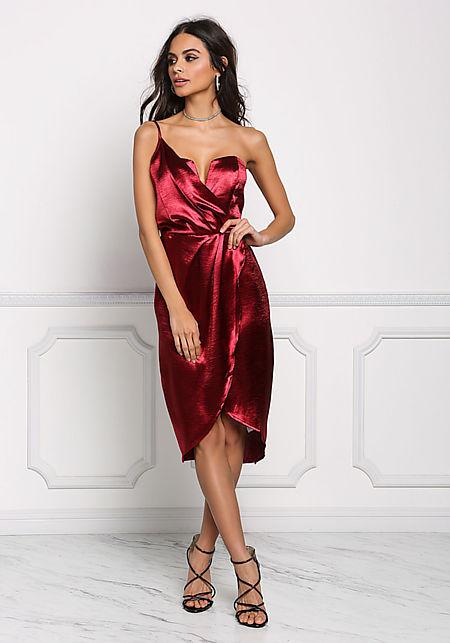 Burgundy Silky One Shoulder Surplice Dress