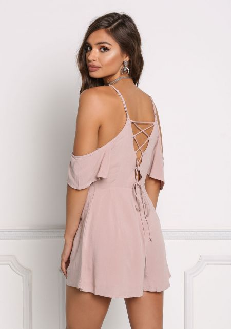 Mauve Back Lace Up Cold Shoulder Romper