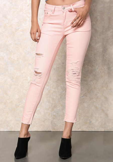 Peach Distressed Mid Rise Skinny Jeans