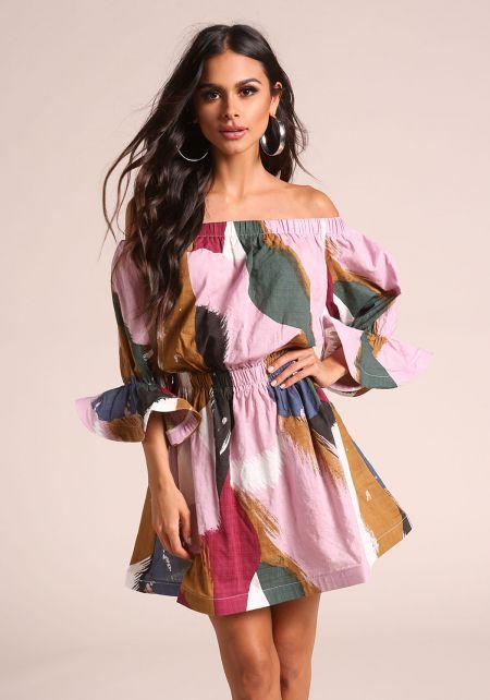 Lavender Multi Colored Off Shoulder Flared Dress