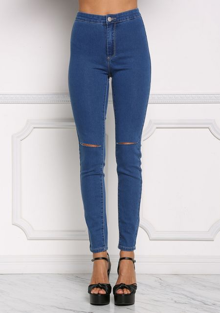 Blue High Rise Slit Knee Jeans