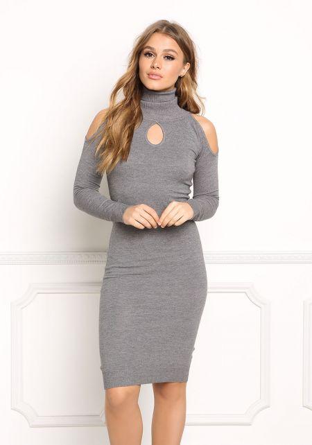 Grey Turtleneck Cold Shoulder Bodycon Dress