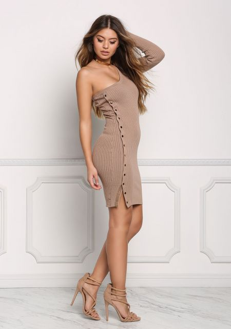 Mocha One Shoulder Side Button Bodycon Dress