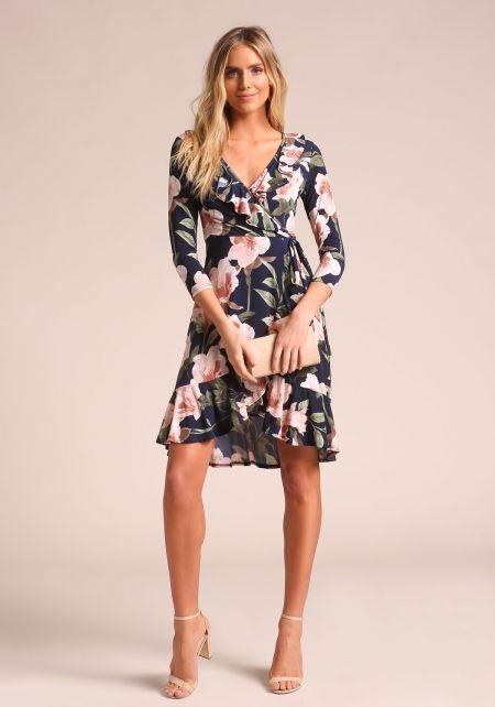 Navy Floral Faux Wrap Ruffle Dress