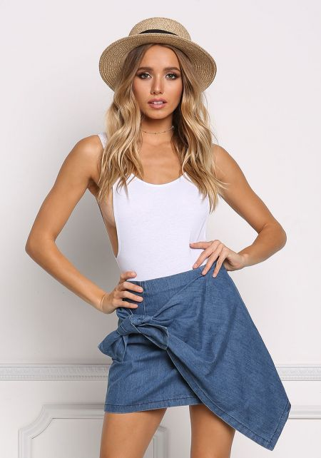 Denim Wrap Asymmetrical Mini Skirt