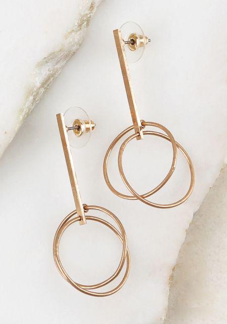 Gold Double Hoop Bar Earrings