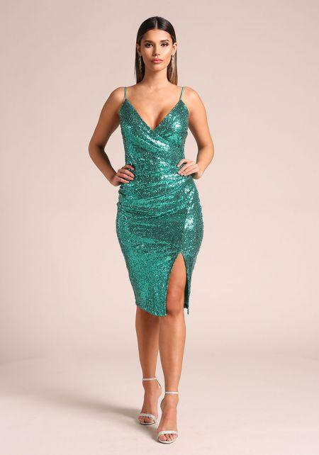 Emerald Sequin Side Slit Bodycon Dress