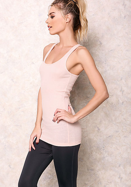 Peach Ribbed Knit Racerback Tank Top