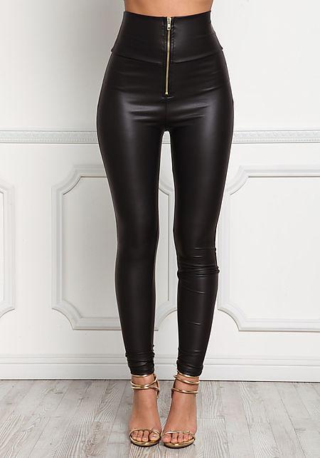 Black High Rise Leatherette Leggings