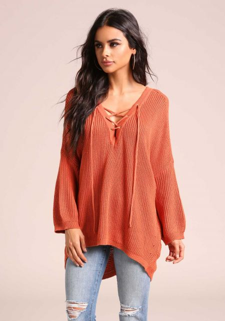 Rust Lace Up Hi-Lo Sweater Top