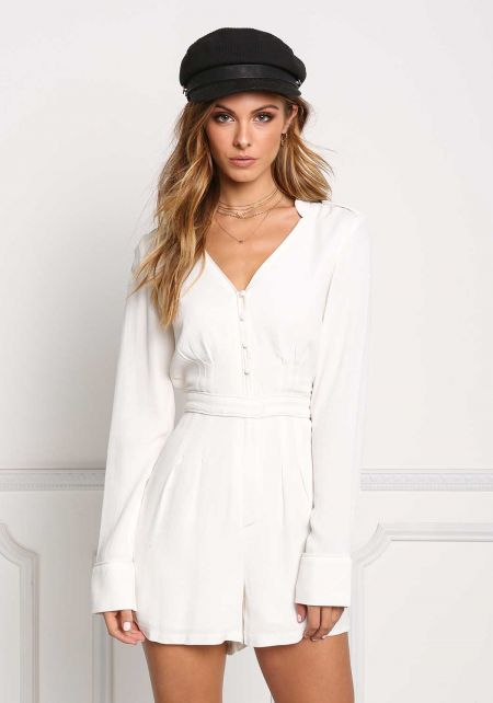 White Sleek Button Down Deep V Romper