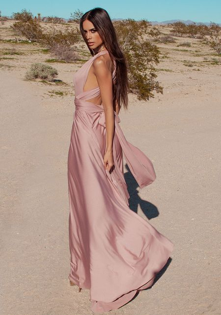 Light Mocha Multi Wrap Maxi Gown