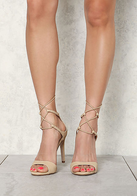 Beige Leatherette Thin Strap Lace Up Heels
