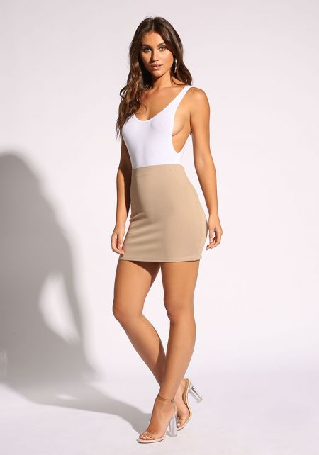 Taupe High Rise Solid Skirt