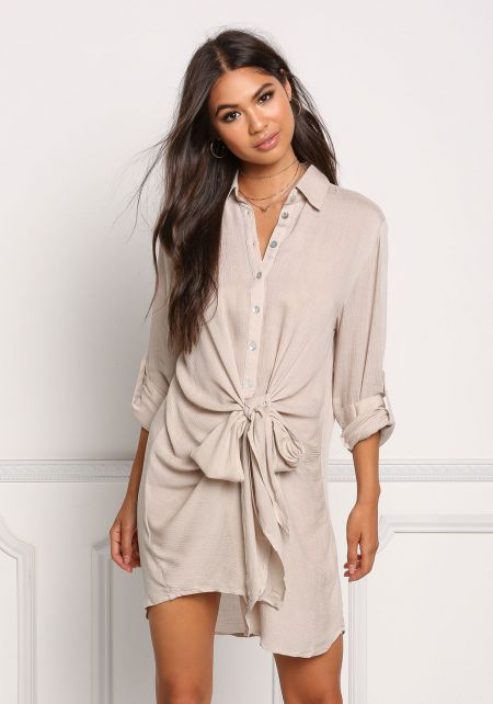 Stone Button Up Front Tie Shift Dress