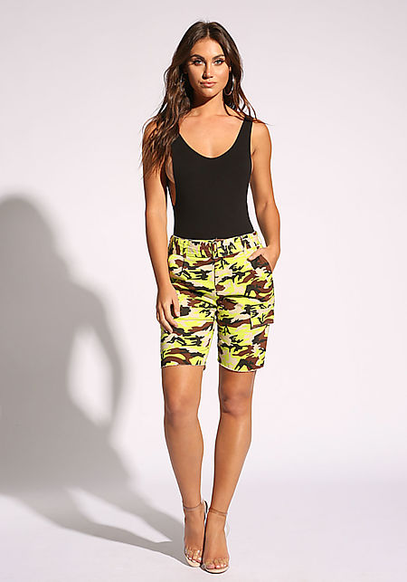 Neon Yellow Camo Belted Bermuda Shorts