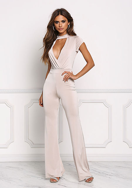 Taupe Plunge Open Back Jumpsuit