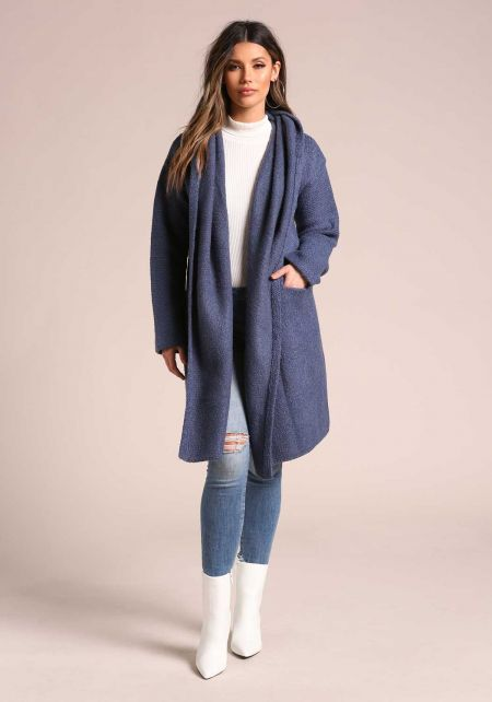Dark Blue Soft Thick Knit Longlined Hooded Cardigan