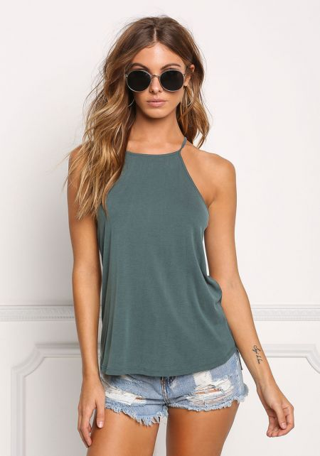 Hunter Green Ribbed Knit Tank Top