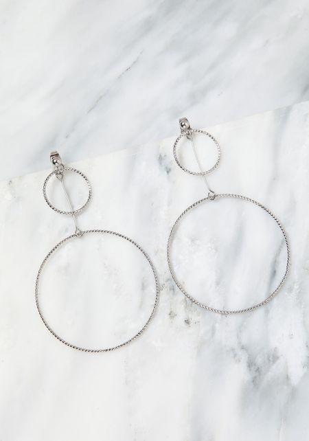 Silver Thin Double Hoop Earrings