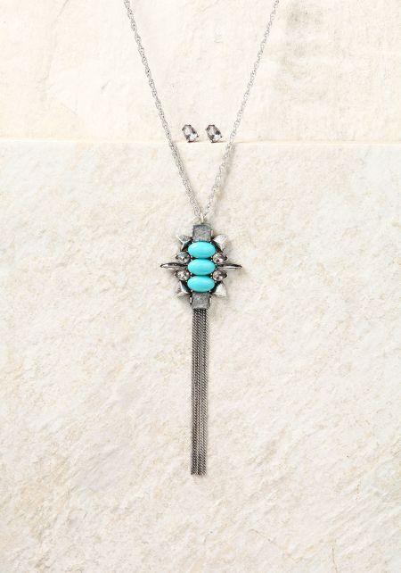 Turquoise Rhinestone & Pendant Tassel Necklace