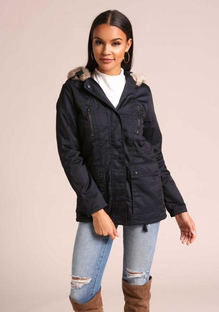 Navy Faux Fur Hooded Parka Jacket