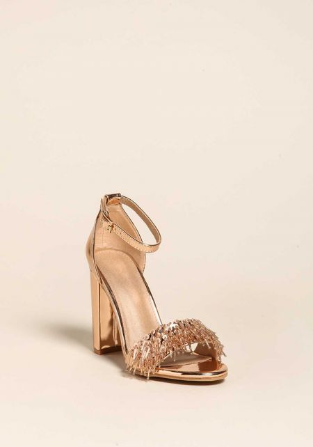Rose Gold Suedette Fringe Beaded Heels